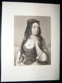 Pretty Lady 1867 Antique Print. Leila